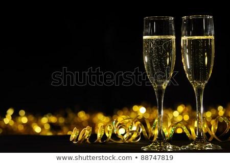 dois · óculos · champanhe · preto · coupe - foto stock © rob_stark