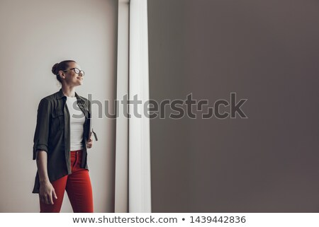 Portrait of a beautiful young lady working with laptop in the kitchen at home stock photo © maxpro