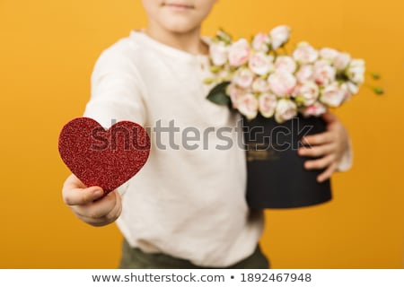 side view of boy holding heart shape stock photo © zzve
