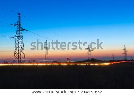 Elektomos torony tájkép utca égbolt felhők Stock fotó © meinzahn