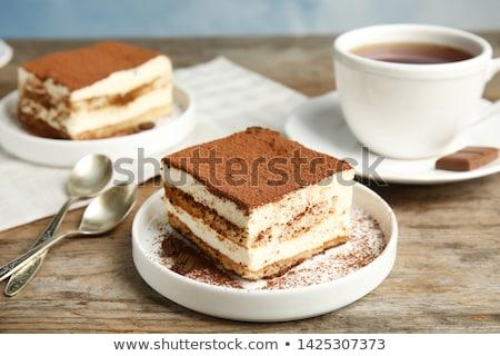 Stockfoto: Biscuit · cake · zoete · witte · plaat · chocolade
