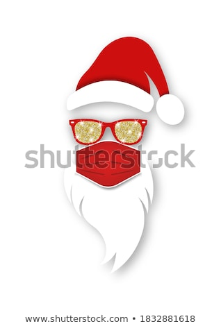 merry christmas with gift sign and red hat Stock photo © marinini