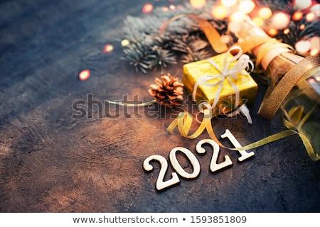 Stockfoto: Toast · nieuwjaar · illustratie · wijn · man · klok