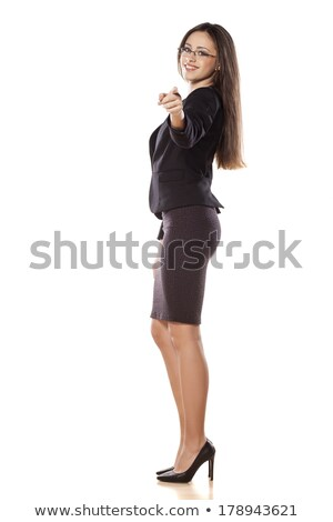 Full lenght portrait of business woman touching her glasses Stock photo © deandrobot