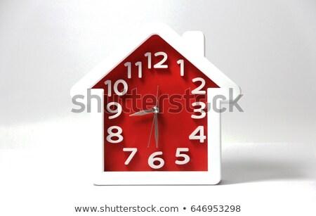 Klok huis houten witte muur geïsoleerd Stockfoto © Onyshchenko
