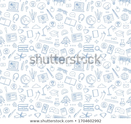e learning concept with business doodle design style online for stock photo © davidarts