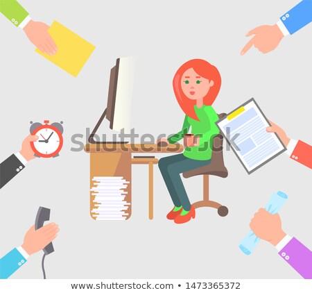 Nina ordenador más tareas escritorio manos Foto stock © robuart