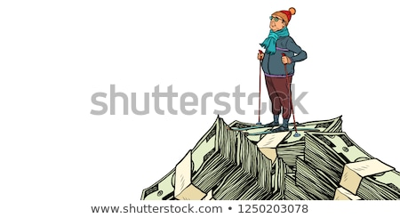 skier, Money dollars mountaintop. isolate on white background Stok fotoğraf © studiostoks