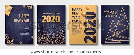 Christmas partij gouden flyer sjabloon ontwerp Stockfoto © SArts