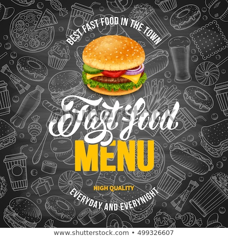 Vintage fast food logo fastfood restaurant producten geïsoleerd Stockfoto © netkov1