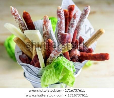 Casse-croûte saucisses bois alimentaire viande blanche Photo stock © Alex9500