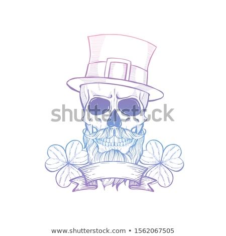 Dibujado a mano enojado cráneo línea arte Foto stock © netkov1