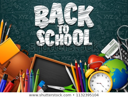 stationery clock and text back to school stock photo © nito