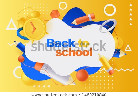 Back to School Sale Design with Alarm Clock, Colorful Pencil, Brush, Scissors and Typography Letter  Stock photo © articular