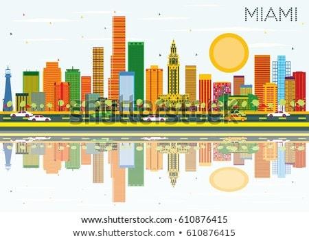 Skicc Miami sziluett kék épületek tükröződések Stock fotó © ShustrikS