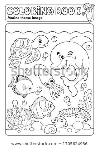Coloring book marine life theme 3 Stock photo © clairev
