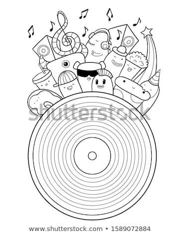 Funny Colorful Musical Vinyl Record Vector Pattern Stock photo © barsrsind