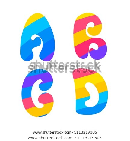 Psychedelic font with colorful pattern. Vintage hippie A B C D latin letters on white Stock photo © evgeny89