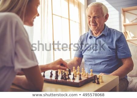Idős idős játszik sakk gondozó otthon Stock fotó © AndreyPopov