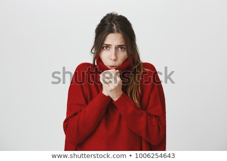 Stock foto: Portrait Of A Woman Feeling Cold