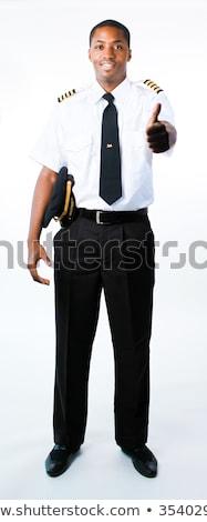 Teljes alakos fotó pilóta üzlet boldog kalap Stock fotó © wavebreak_media
