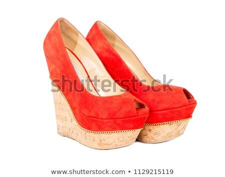 Stok fotoğraf: Mahkeme · kırmızı · ayakkabı · yalıtılmış · beyaz · kız