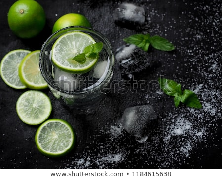 glass made of ice with vodka, lemon and mint Stock photo © joannawnuk