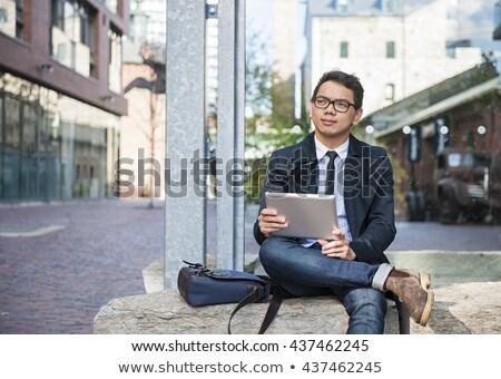 adam · dijital · tablet · Asya · ayakta - stok fotoğraf © rastudio