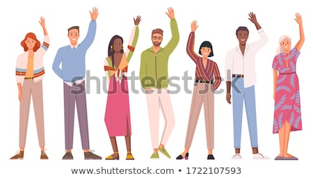 smiling man waving hand stock photo © dolgachov