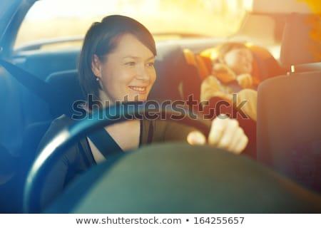 cute · meisje · auto · veiligheid · zitting · glimlachend - stockfoto © paha_l