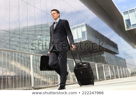 Businessman walking with suitcase stock photo © cherezoff