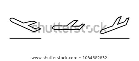 plane taking off line icon stock photo © rastudio