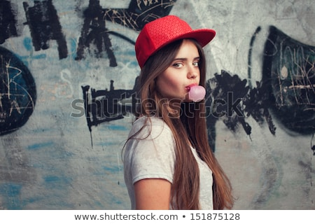 teenage girl in red cap portrait stock photo © simply