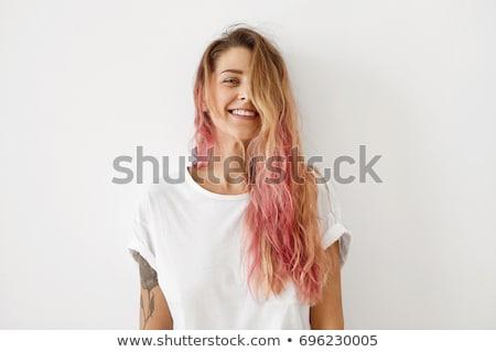 yarım · yüz · portre · genç · kadın · halka - stok fotoğraf © deandrobot