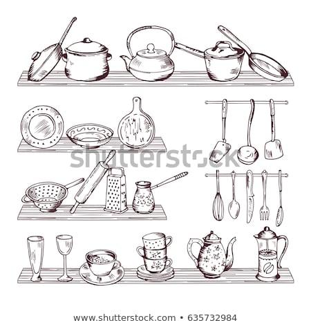 Sketch of shelves with different utensils. Vector illustration Stock photo © Arkadivna