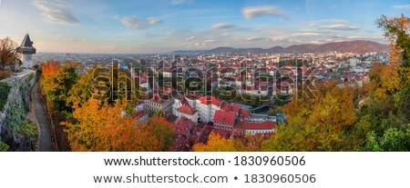 uhrturm landmark and graz cityscape aerial view stock photo © xbrchx