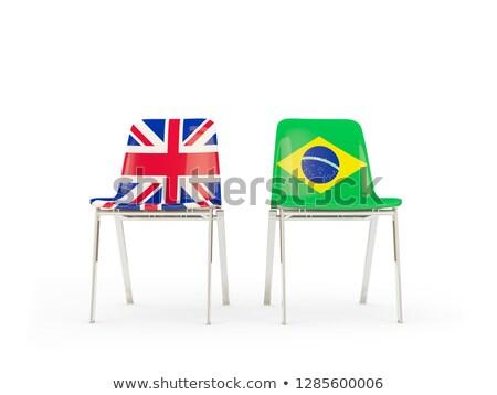 Zdjęcia stock: Dwa · krzesła · flagi · Brazylia · odizolowany · biały
