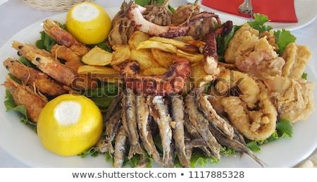 жареный хрустящий рыбы морская соль соевый соус мелкий Сток-фото © AGfoto