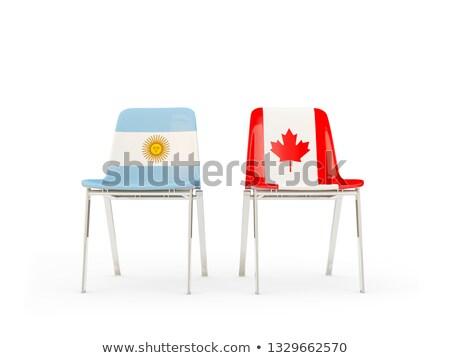 Twee stoelen vlaggen Argentinië Canada geïsoleerd Stockfoto © MikhailMishchenko