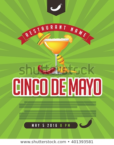 Cinco de Mayo lettering text greeting card. Holiday character set Stock photo © orensila