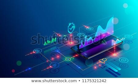 Smartphone analytics diagramme icône ombre réflexion Photo stock © angelp