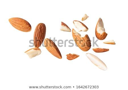 Stockfoto: Klein · stukken · gehakt · amandelen · geheel · houten