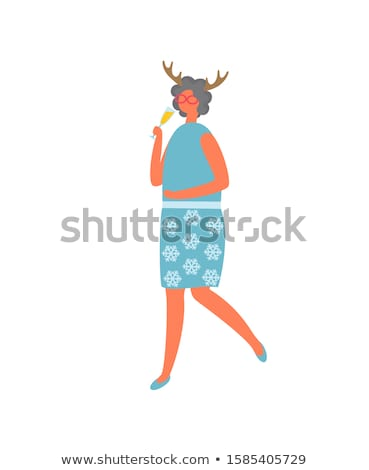 Woman in Skirt with Flowers and Blouse, Drinking Stock photo © robuart