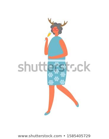 Vrouw rok bloemen blouse drinken Blauw Stockfoto © robuart