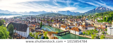 Stock photo: Luzern lake and Swiss Alps landscape view