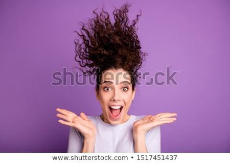 Retrato animado jovem cabelos cacheados Foto stock © deandrobot