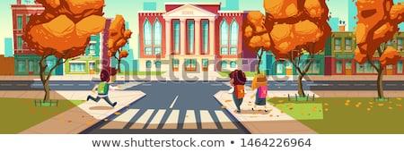 Filles sac à dos école élèves extérieur Photo stock © choreograph