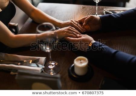 手 従事 カップル 赤ワイン 眼鏡 お祝い ストックフォト © dolgachov