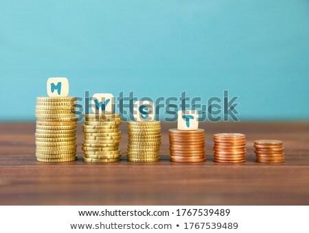 Egymásra pakolva érmék százalék felirat fából készült asztal Stock fotó © AndreyPopov