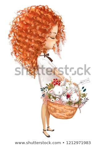 happy red hair girl character cartoon illustration Stock photo © izakowski